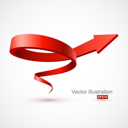 espiral: La flecha roja 3D espiral