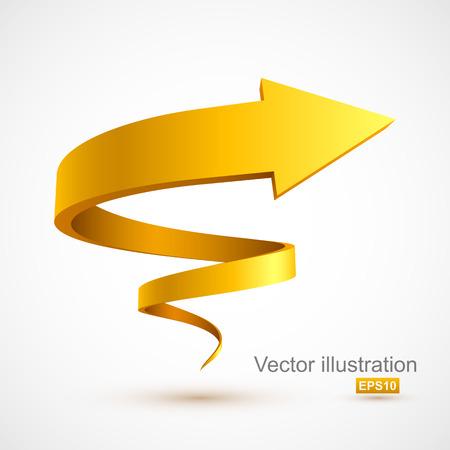 黄色のスパイラルアロー 3D  イラスト・ベクター素材