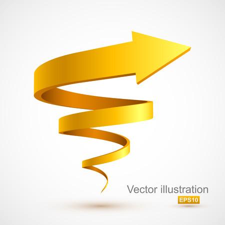 Żółta spiralna strzałka 3D Ilustracje wektorowe