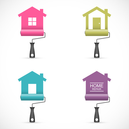 Set of house renovation icons with paint rollers Vectores