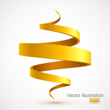 黄色スパイラル リボン  イラスト・ベクター素材