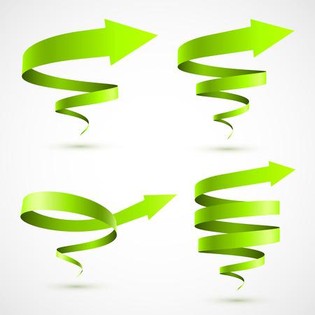 Set of green spiral arrows Vettoriali
