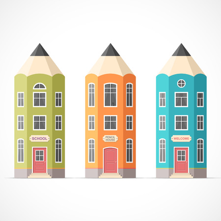 Set of colorful pencil houses. Easy to change colors Illustration