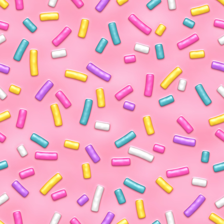 Seamless pattern of pink donut glaze with many decorative sprinkles. Vector illustration Eps 10 Ilustração