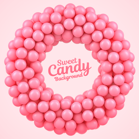 Pink candy balls round frame with place for your content
