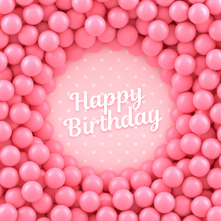 Pink candy balls background with Happy Birthday