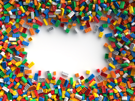 Colored toy bricks with place for your content Reklamní fotografie - 93679634