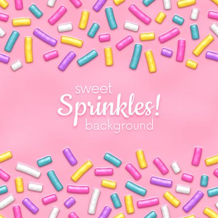 Plano de fundo sem emenda de esmalte rosa donut com muitos granulado decorativo Foto de archivo - 93640620