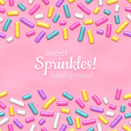 Seamless background of pink donut glaze with many decorative sprinkles 写真素材 - 93640620