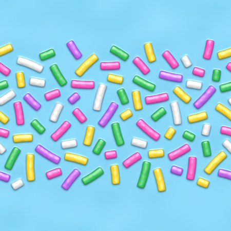 Seamless background of blue candy donut glaze with many decorative sprinkles
