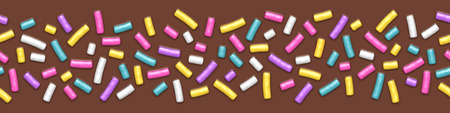Seamless wide background of chocolate with sprinkles Illustration