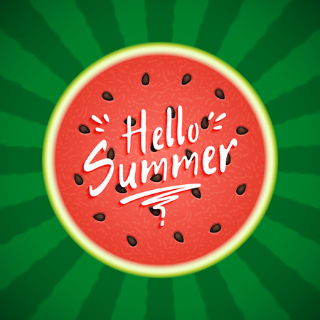 Watermelon with text Hello Summer Ilustração