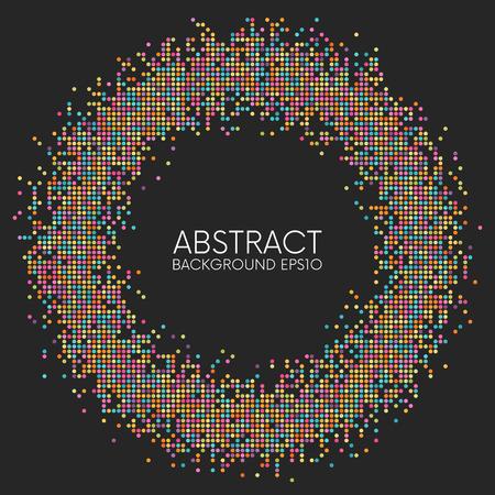 暗い背景に抽象的なカラフルな点線の円枠 写真素材 - 93681249