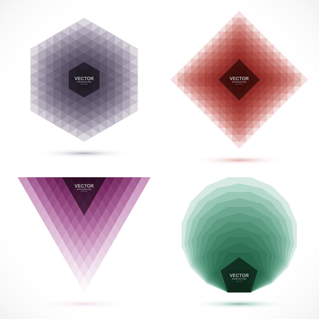 Set of abstract geometric layered banners