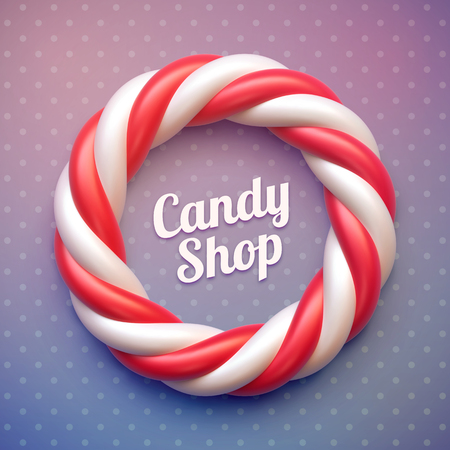 Candy cane circle frame on polka dot background. Swirl hard candy round border with copy space