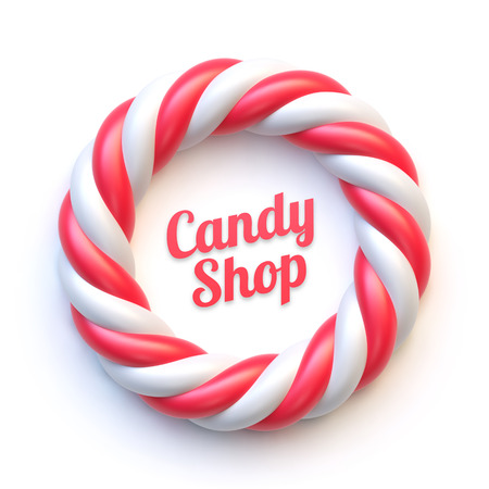 Candy cane circle frame on white background. Swirl hard candy round border with copy space.
