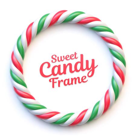 Candy cane circle frame on white background. Ilustração
