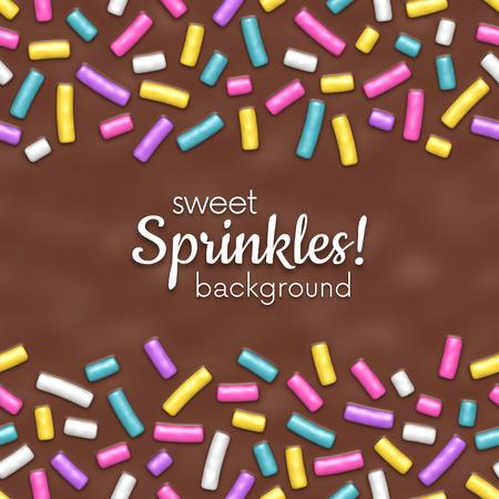 Seamless background of chocolate donut glaze with many decorative sprinkles Ilustração