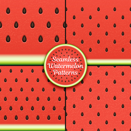 Set of seamless watermelon patterns. Surface textures of watermelon pulp with seeds