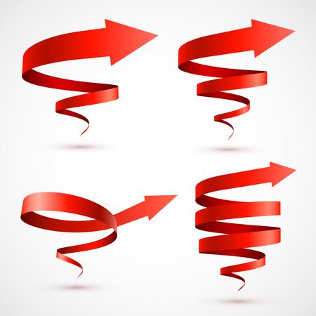 Set of red spiral arrows Ilustração
