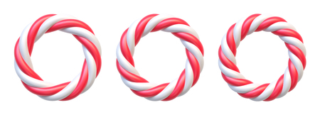 Set of candy cane circle frame on white background. Swirl hard candy round borders with copy space. Illusztráció