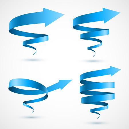 Set of blue spiral arrows