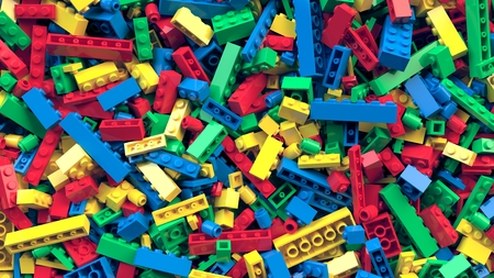 Lot of various colored toy bricks background Stock fotó