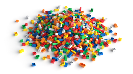 Pile of colored toy bricks isolated on white background. Standard-Bild - 96957701