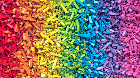 Lot of colorful rainbow toy bricks background Stockfoto