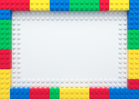 Frame of colorful toy bricks