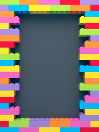 Frame of stacked colorful toy bricks Stock fotó