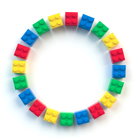 Circle frame of colored toy bricks