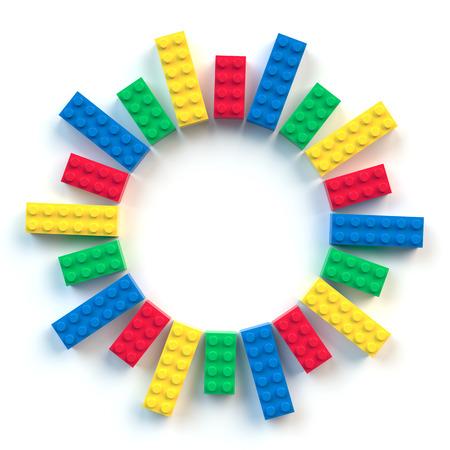 Cirkelkader van gekleurde speelgoedbakstenen