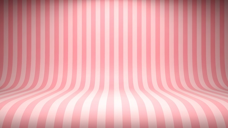 Striped candy pink studio backdrop with empty space for your content. Vector illustration