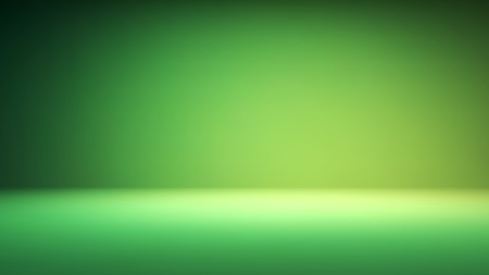 Colorful green studio backdrop with empty space for content
