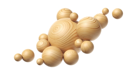 Wooden spheres composition isolated on a white background