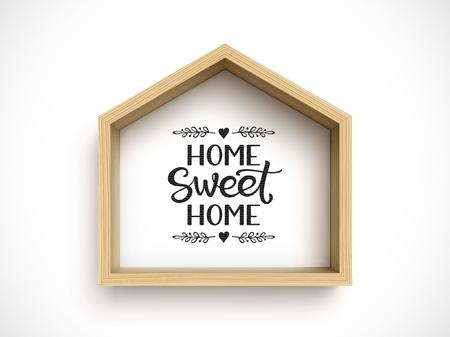 Wooden house frame on white background. Real estate symbol Ilustração