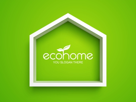 White frame in shape of house on green background. Eco home real estate design template Illusztráció