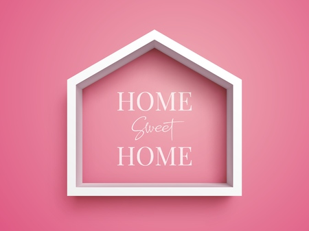 White frame in shape of house on pink background with inscription Home Sweet Home Illusztráció