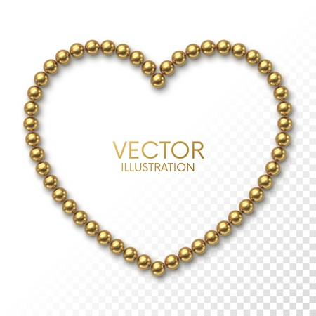 Golden balls in the form of heart frame on white background with place for your content Illusztráció