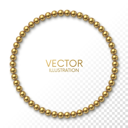 Golden balls in the form of circle frame on white background with place for your content. Luxury border or banner