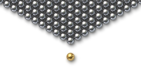 Leadership concept. Gold leader ball standing out from the crowd of silver balls on white background Illusztráció