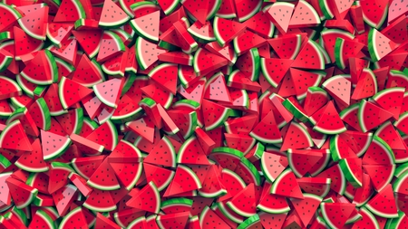 Heap of watermelon slices abstract background. 3D Rendering Stock fotó