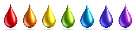 Set van kleurrijke regenboog druppels geïsoleerd op een witte achtergrond. Veelkleurige verfdruppels