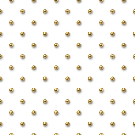 Seamless pattern with small golden balls on white background