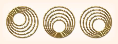 Set of golden eccentric circle frames vector illustration Ilustração