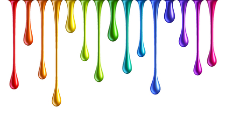 Colorful rainbow nail polish drops isolated on white background. Multicolored dripping paint