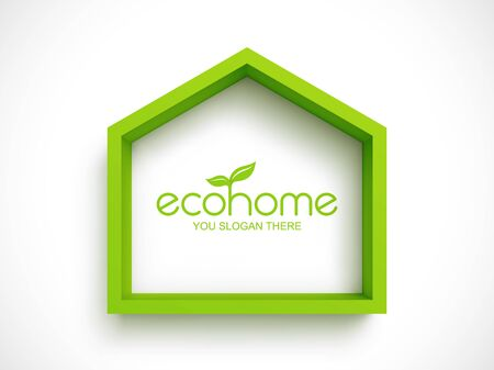 Green frame in shape of house on white background. Eco home real estate design template Stok Fotoğraf - 132352644