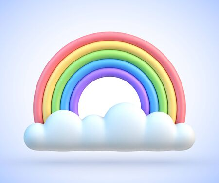 Colorful rainbow with clouds 3d vector illustration Illustration