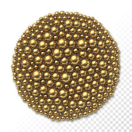 Many golden balls of different sizes in the form of circle Stock fotó